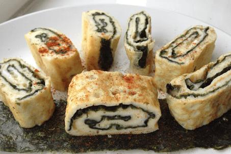 omelette con alga Nori essiccata