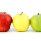 Three apples different colors looks like traffic light